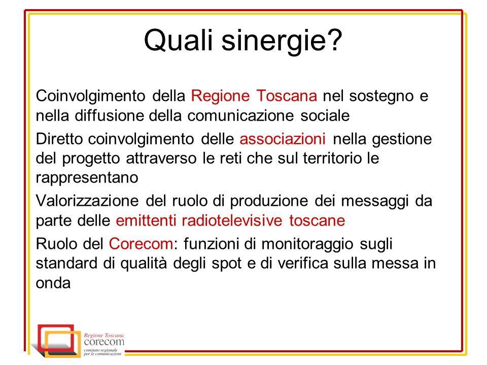 Quali sinergie? Coinvolgimento della Regione Toscana nel sostegno e nella diffusione della comunicazione sociale Diretto coinvolgimento delle associaz