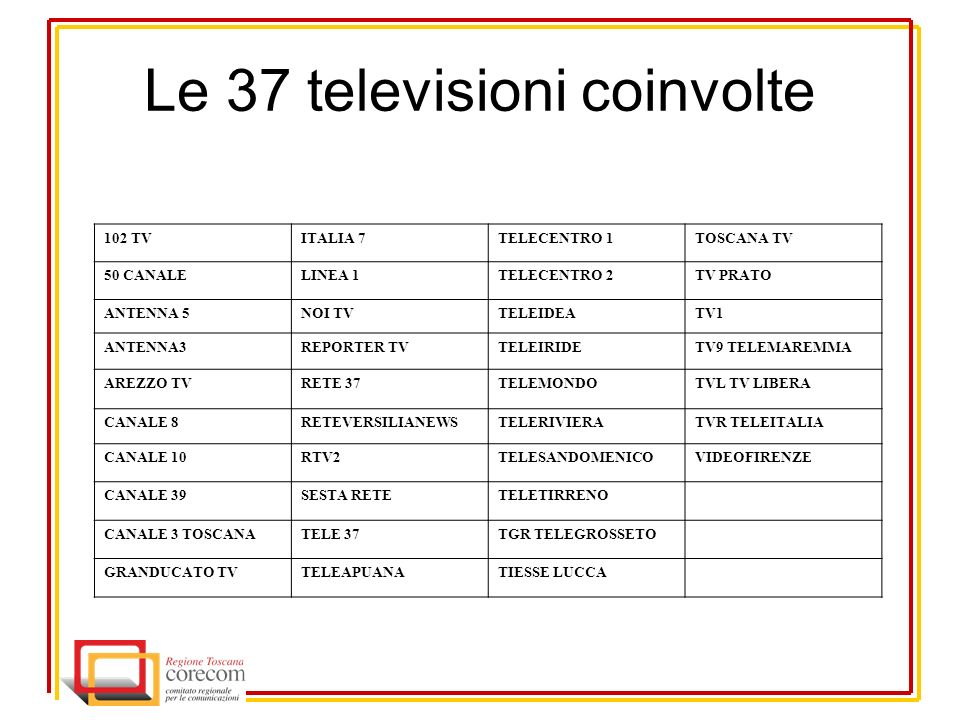Le 37 televisioni coinvolte 102 TVITALIA 7TELECENTRO 1TOSCANA TV 50 CANALELINEA 1TELECENTRO 2TV PRATO ANTENNA 5NOI TVTELEIDEATV1 ANTENNA3REPORTER TVTELEIRIDETV9 TELEMAREMMA AREZZO TVRETE 37TELEMONDOTVL TV LIBERA CANALE 8RETEVERSILIANEWSTELERIVIERATVR TELEITALIA CANALE 10RTV2TELESANDOMENICOVIDEOFIRENZE CANALE 39SESTA RETETELETIRRENO CANALE 3 TOSCANATELE 37TGR TELEGROSSETO GRANDUCATO TVTELEAPUANATIESSE LUCCA