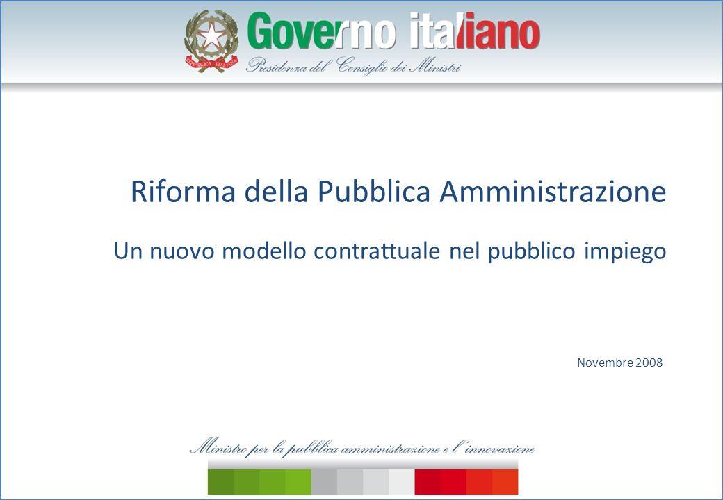 Riforma della Pubblica Amministrazione Un nuovo modello contrattuale nel pubblico impiego Novembre 2008