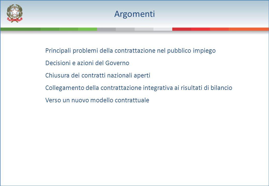 Principali problemi della contrattazione nel pubblico impiego Decisioni e azioni del Governo Chiusura dei contratti nazionali aperti Collegamento dell