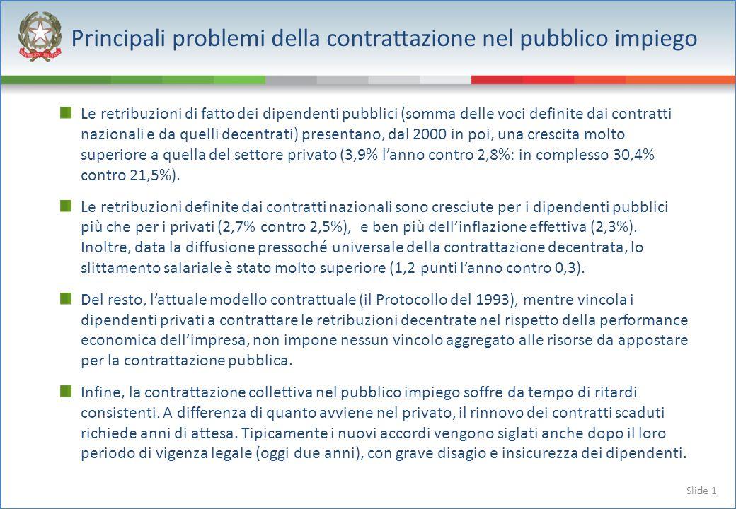 Slide 1 Le retribuzioni di fatto dei dipendenti pubblici (somma delle voci definite dai contratti nazionali e da quelli decentrati) presentano, dal 2000 in poi, una crescita molto superiore a quella del settore privato (3,9% lanno contro 2,8%: in complesso 30,4% contro 21,5%).