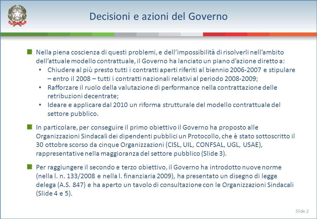 Slide 2 Nella piena coscienza di questi problemi, e dellimpossibilità di risolverli nellambito dellattuale modello contrattuale, il Governo ha lanciat