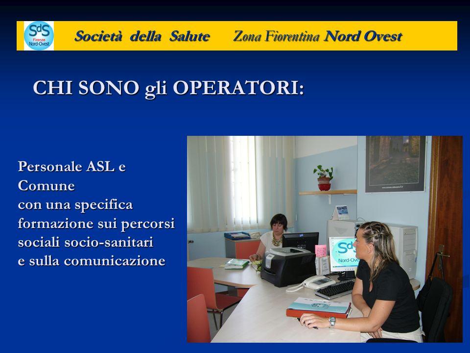 Società della Salute Zona Fiorentina Nord Ovest COSA FANNO: -Prima analisi del bisogno dellutente per indirizzarlo verso lufficio giusto.