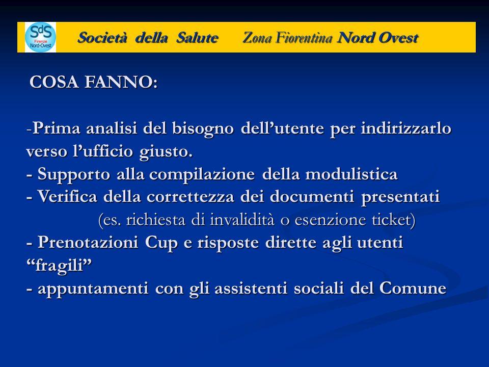 Società della Salute Zona Fiorentina Nord Ovest COSA FANNO: -Prima analisi del bisogno dellutente per indirizzarlo verso lufficio giusto. - Supporto a