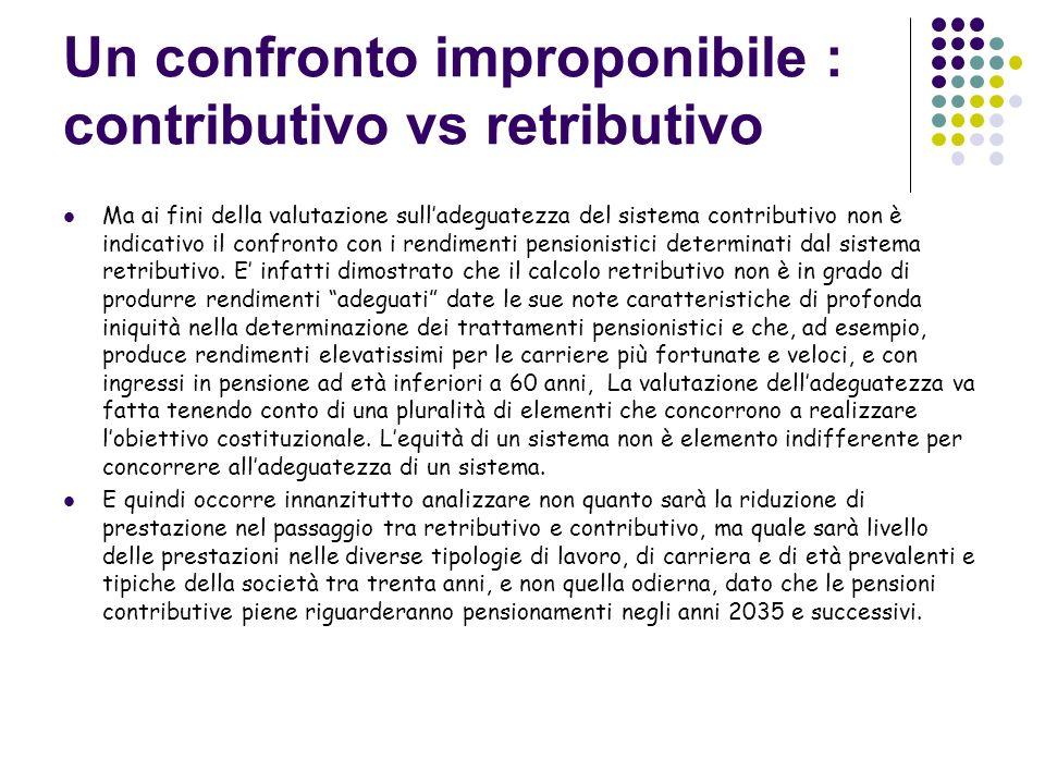 Un confronto improponibile : contributivo vs retributivo Ma ai fini della valutazione sulladeguatezza del sistema contributivo non è indicativo il confronto con i rendimenti pensionistici determinati dal sistema retributivo.
