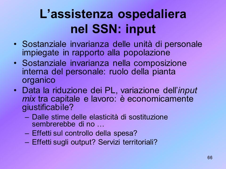 66 Lassistenza ospedaliera nel SSN: input Sostanziale invarianza delle unità di personale impiegate in rapporto alla popolazione Sostanziale invarianz