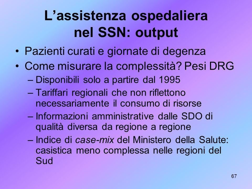 67 Lassistenza ospedaliera nel SSN: output Pazienti curati e giornate di degenza Come misurare la complessità? Pesi DRG –Disponibili solo a partire da