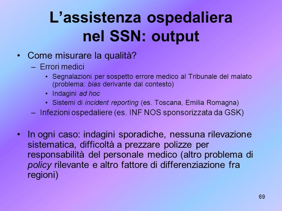 69 Lassistenza ospedaliera nel SSN: output Come misurare la qualità? –Errori medici Segnalazioni per sospetto errore medico al Tribunale del malato (p