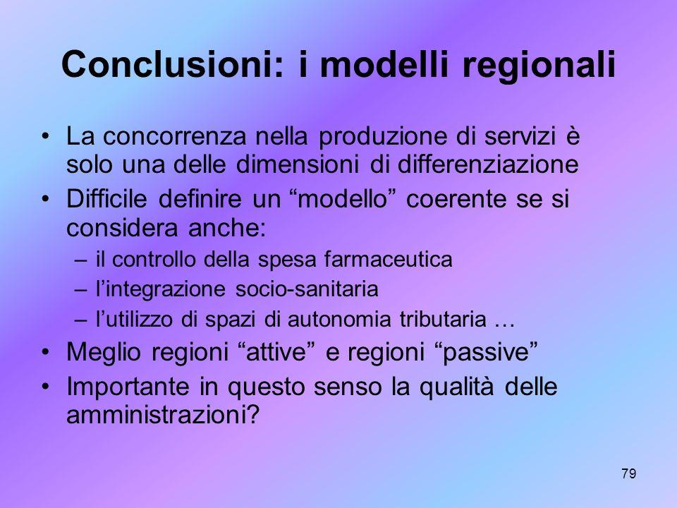 79 Conclusioni: i modelli regionali La concorrenza nella produzione di servizi è solo una delle dimensioni di differenziazione Difficile definire un m