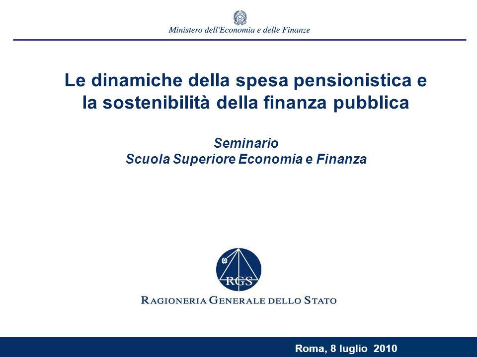 Roma, 9 luglio 2003 Le dinamiche della spesa pensionistica e la sostenibilità della finanza pubblica Seminario Scuola Superiore Economia e Finanza Roma, 8 luglio 2010