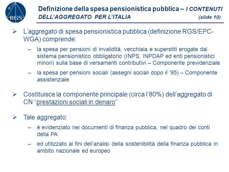 Definizione della spesa pensionistica pubblica – I CONTENUTI DELLAGGREGATO PER LITALIA (slide 10) Laggregato di spesa pensionistica pubblica (definizione RGS/EPC- WGA) comprende: –la spesa per pensioni di invalidità, vecchiaia e superstiti erogate dal sistema pensionistico obbligatorio (INPS, INPDAP ed enti pensionistici minori) sulla base di versamenti contributivi – Componente previdenziale –la spesa per pensioni sociali (assegni sociali dopo il 95) – Componente assistenziale Costituisce la componente principale (circa l80%) dellaggregato di CN prestazioni sociali in denaro Tale aggregato: –è evidenziato nei documenti di finanza pubblica, nel quadro dei conti della PA –ed utilizzato ai fini dellanalisi della sostenibilità della finanza pubblica in ambito nazionale ed europeo