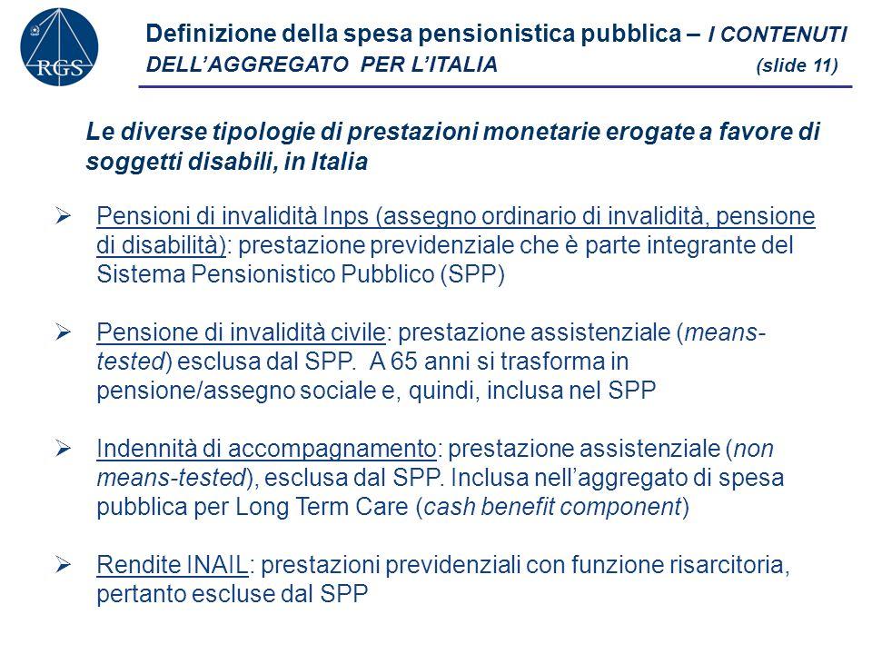 Definizione della spesa pensionistica pubblica – I CONTENUTI DELLAGGREGATO PER LITALIA (slide 11) Pensioni di invalidità Inps (assegno ordinario di invalidità, pensione di disabilità): prestazione previdenziale che è parte integrante del Sistema Pensionistico Pubblico (SPP) Pensione di invalidità civile: prestazione assistenziale (means- tested) esclusa dal SPP.