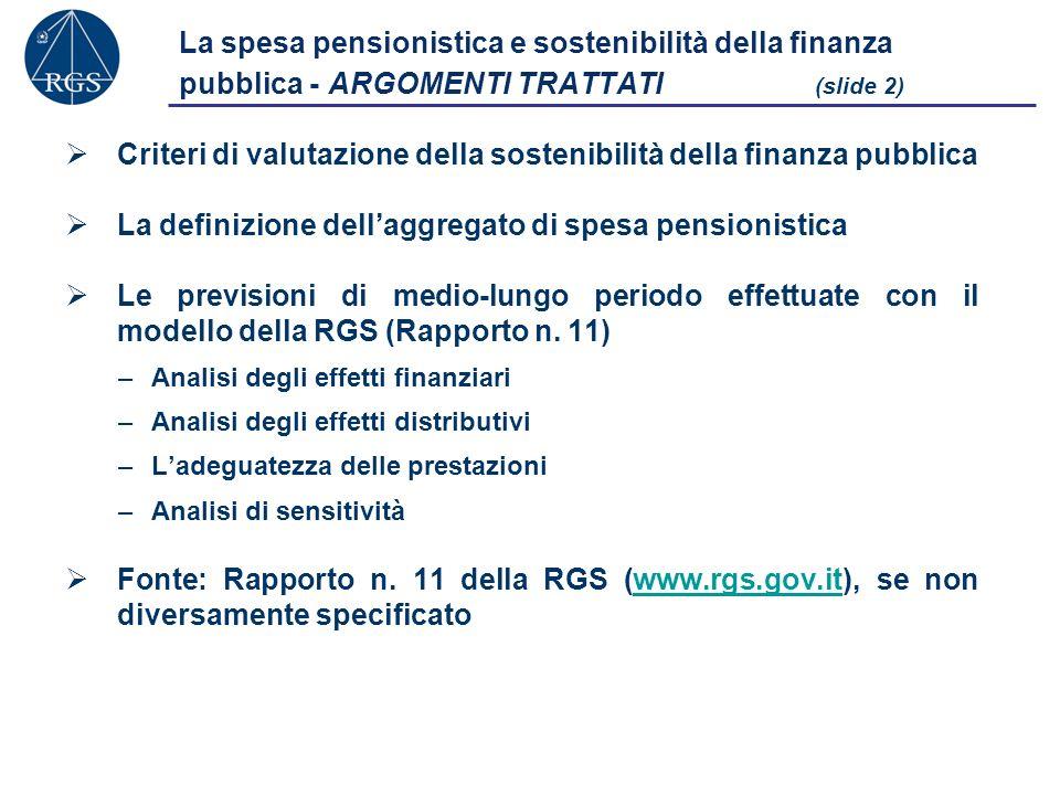 La spesa pensionistica e sostenibilità della finanza pubblica - ARGOMENTI TRATTATI (slide 2) Criteri di valutazione della sostenibilità della finanza pubblica La definizione dellaggregato di spesa pensionistica Le previsioni di medio-lungo periodo effettuate con il modello della RGS (Rapporto n.