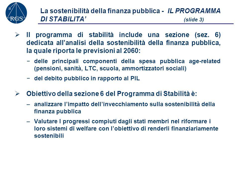 La sostenibilità della finanza pubblica - IL PROGRAMMA DI STABILITA (slide 3) Il programma di stabilità include una sezione (sez.