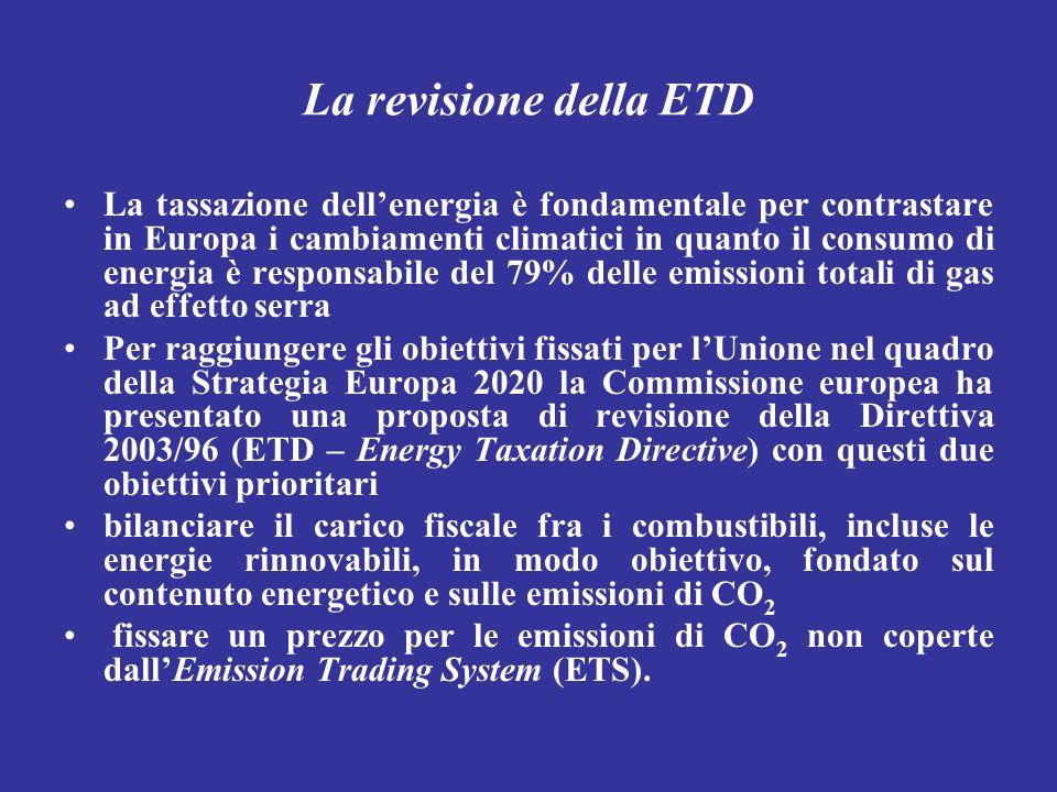 La revisione della ETD La tassazione dellenergia è fondamentale per contrastare in Europa i cambiamenti climatici in quanto il consumo di energia è re