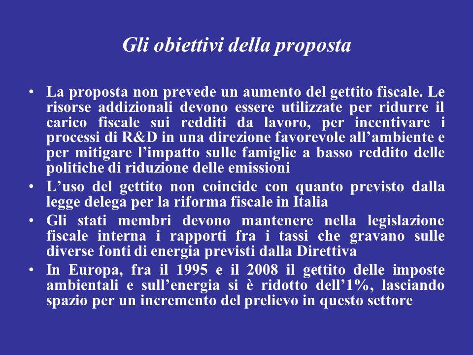 Gli obiettivi della proposta La proposta non prevede un aumento del gettito fiscale. Le risorse addizionali devono essere utilizzate per ridurre il ca