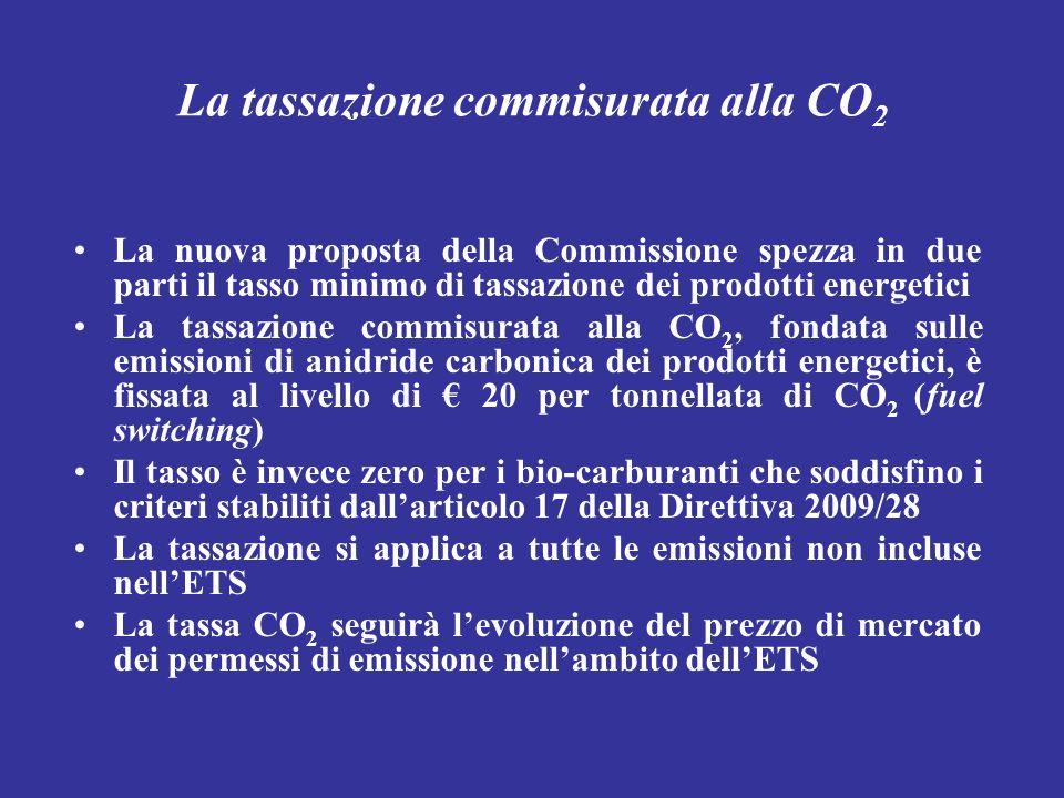 La tassazione commisurata alla CO 2 La nuova proposta della Commissione spezza in due parti il tasso minimo di tassazione dei prodotti energetici La t