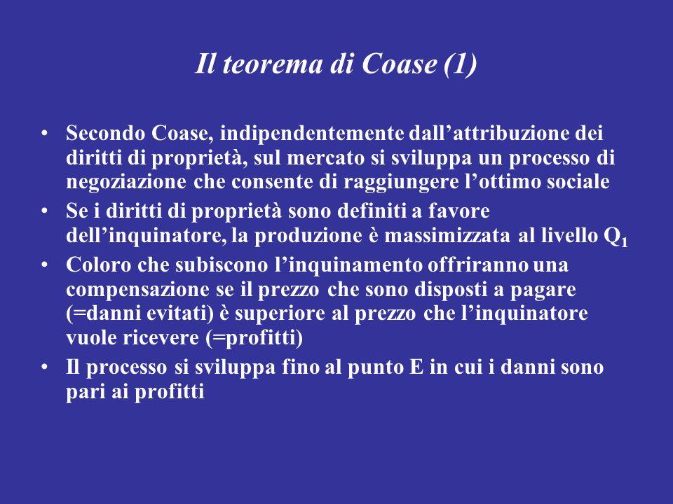 Il teorema di Coase (1) Secondo Coase, indipendentemente dallattribuzione dei diritti di proprietà, sul mercato si sviluppa un processo di negoziazion
