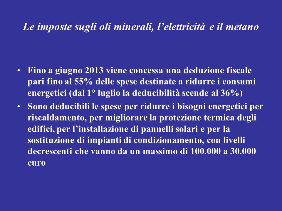 Le imposte sugli oli minerali, lelettricità e il metano Fino a giugno 2013 viene concessa una deduzione fiscale pari fino al 55% delle spese destinate