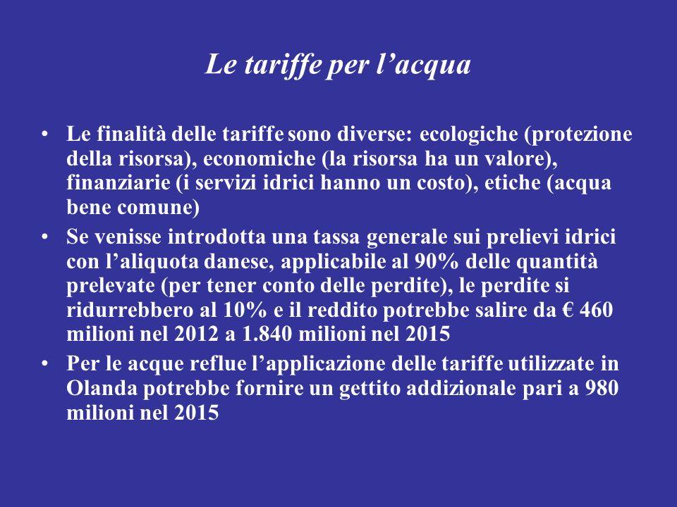 Le tariffe per lacqua Le finalità delle tariffe sono diverse: ecologiche (protezione della risorsa), economiche (la risorsa ha un valore), finanziarie