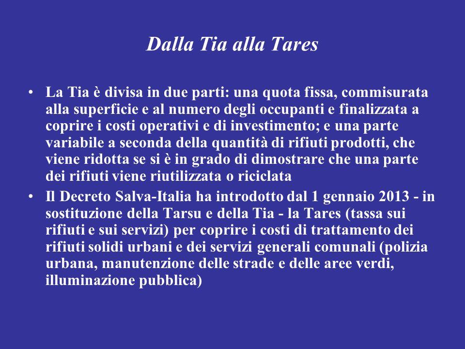 Dalla Tia alla Tares La Tia è divisa in due parti: una quota fissa, commisurata alla superficie e al numero degli occupanti e finalizzata a coprire i