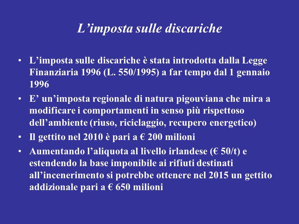 Limposta sulle discariche Limposta sulle discariche è stata introdotta dalla Legge Finanziaria 1996 (L. 550/1995) a far tempo dal 1 gennaio 1996 E uni