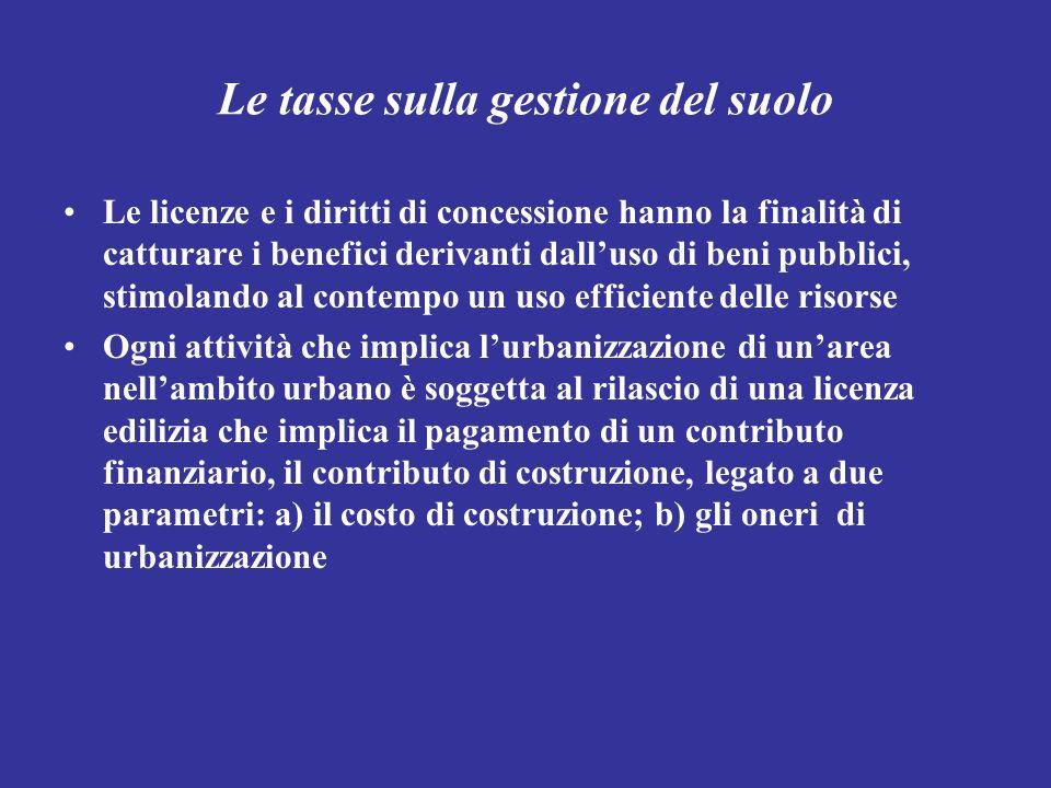 Le tasse sulla gestione del suolo Le licenze e i diritti di concessione hanno la finalità di catturare i benefici derivanti dalluso di beni pubblici,