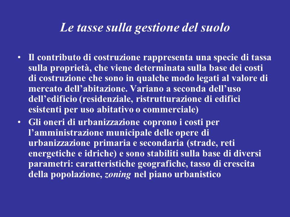 Le tasse sulla gestione del suolo Il contributo di costruzione rappresenta una specie di tassa sulla proprietà, che viene determinata sulla base dei c