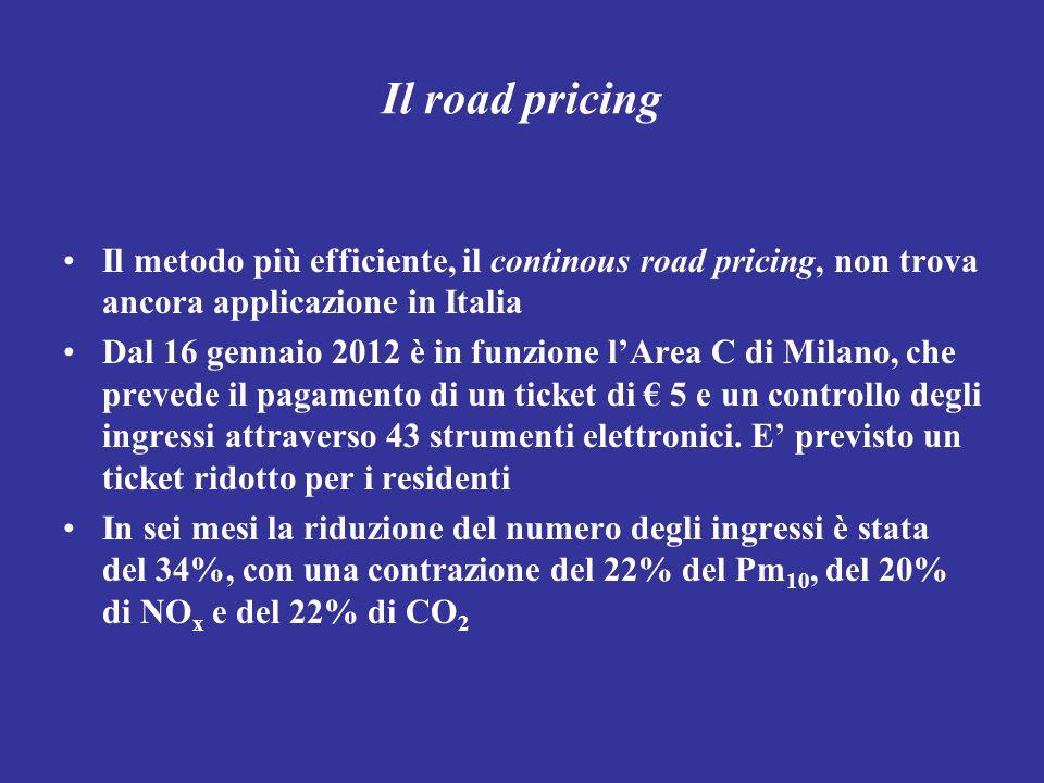 Il road pricing Il metodo più efficiente, il continous road pricing, non trova ancora applicazione in Italia Dal 16 gennaio 2012 è in funzione lArea C