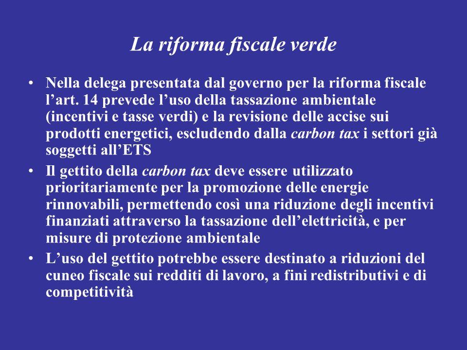 La riforma fiscale verde Nella delega presentata dal governo per la riforma fiscale lart. 14 prevede luso della tassazione ambientale (incentivi e tas