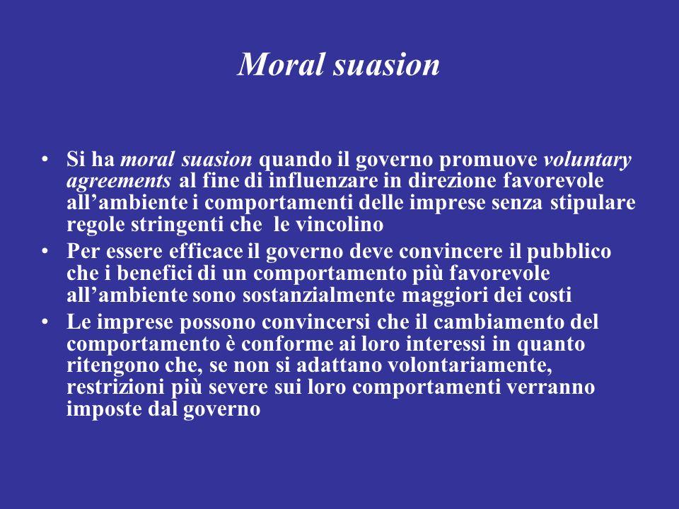 Moral suasion Si ha moral suasion quando il governo promuove voluntary agreements al fine di influenzare in direzione favorevole allambiente i comport