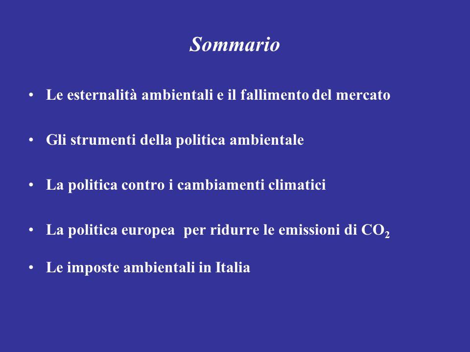 Sommario Le esternalità ambientali e il fallimento del mercato Gli strumenti della politica ambientale La politica contro i cambiamenti climatici La p