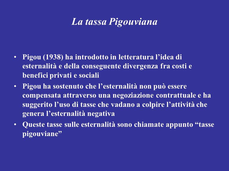 La tassa Pigouviana Pigou (1938) ha introdotto in letteratura lidea di esternalità e della conseguente divergenza fra costi e benefici privati e socia