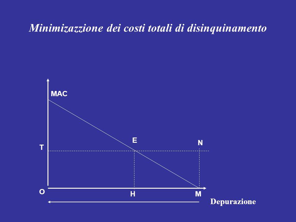 Minimizazzione dei costi totali di disinquinamento MAC E O HM N T Depurazione