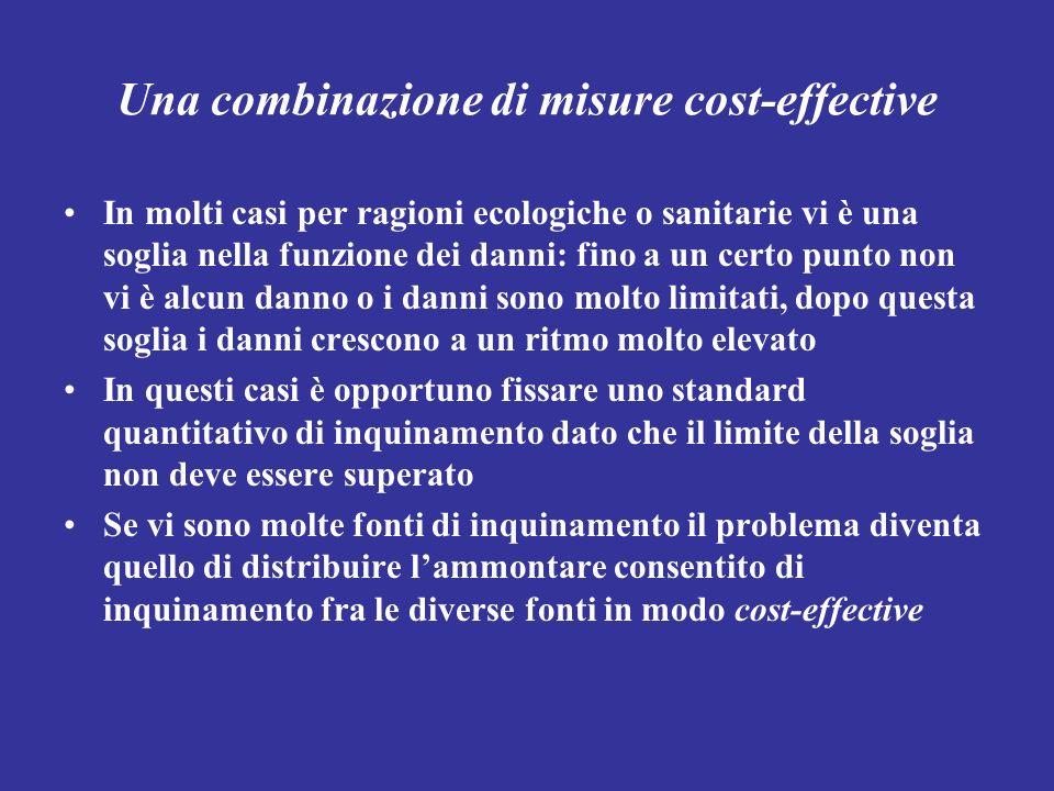 Una combinazione di misure cost-effective In molti casi per ragioni ecologiche o sanitarie vi è una soglia nella funzione dei danni: fino a un certo p