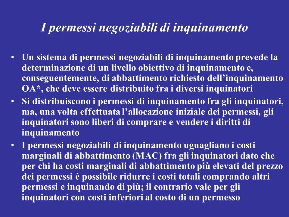 I permessi negoziabili di inquinamento Un sistema di permessi negoziabili di inquinamento prevede la determinazione di un livello obiettivo di inquina