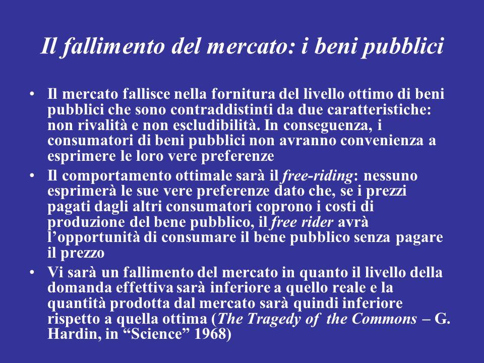 Il fallimento del mercato: i beni pubblici Il mercato fallisce nella fornitura del livello ottimo di beni pubblici che sono contraddistinti da due car