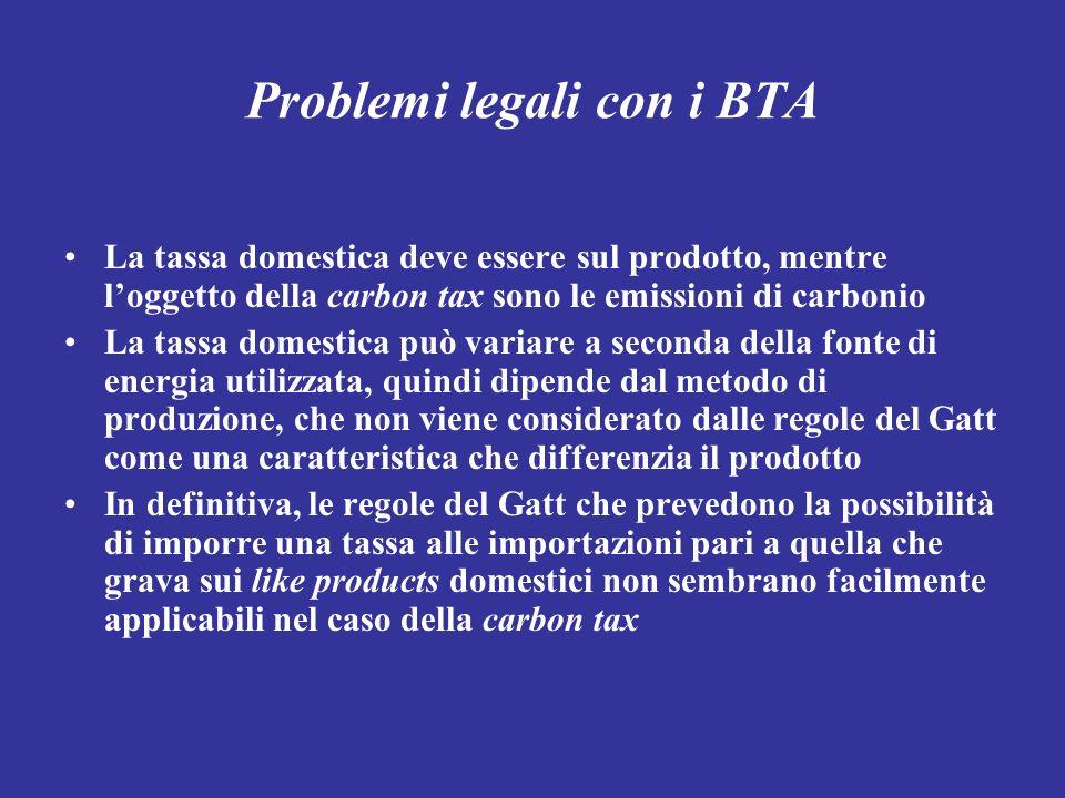 Problemi legali con i BTA La tassa domestica deve essere sul prodotto, mentre loggetto della carbon tax sono le emissioni di carbonio La tassa domesti