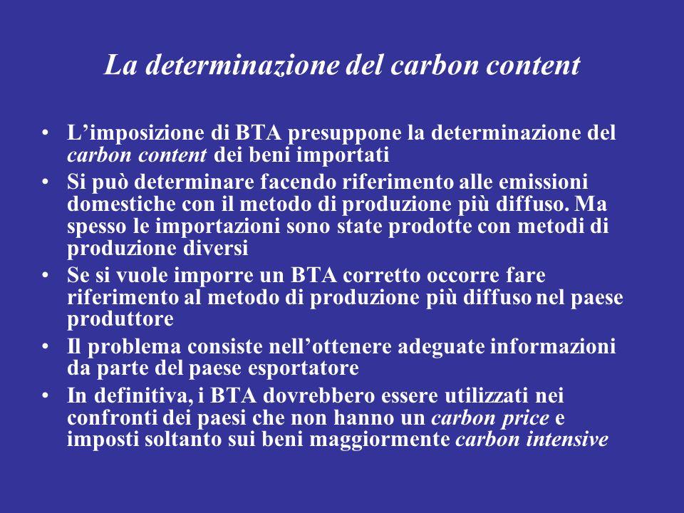 La determinazione del carbon content Limposizione di BTA presuppone la determinazione del carbon content dei beni importati Si può determinare facendo
