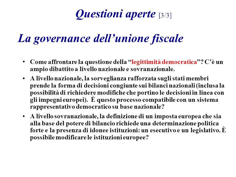 La governance dellunione fiscale Come affrontare la questione della legittimità democratica? Cè un ampio dibattito a livello nazionale e sovranazional