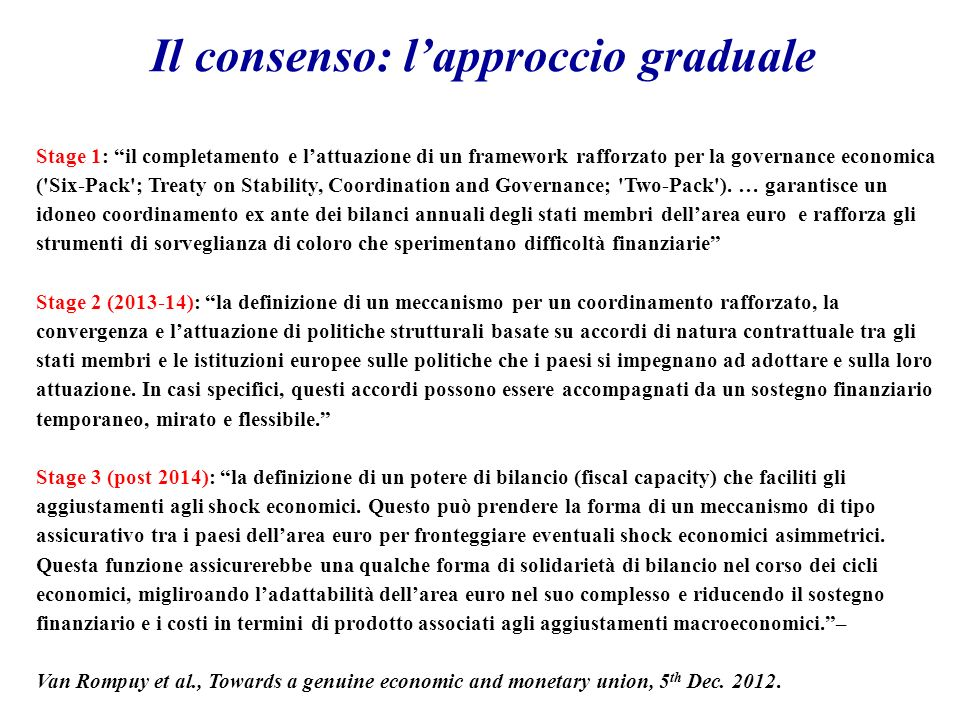 Stage 1: il completamento e lattuazione di un framework rafforzato per la governance economica ( Six-Pack ; Treaty on Stability, Coordination and Governance; Two-Pack ).