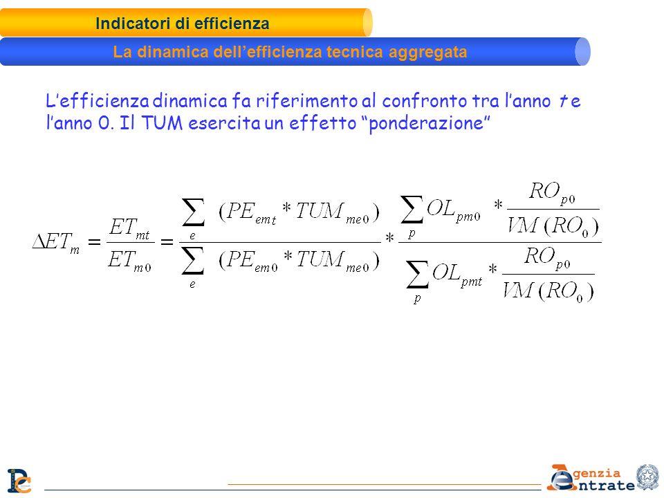 Indicatori di efficienza La dinamica dellefficienza tecnica aggregata Lefficienza dinamica fa riferimento al confronto tra lanno t e lanno 0. Il TUM e