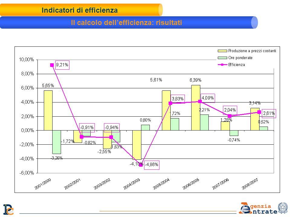 Indicatori di efficienza Il calcolo dellefficienza: risultati