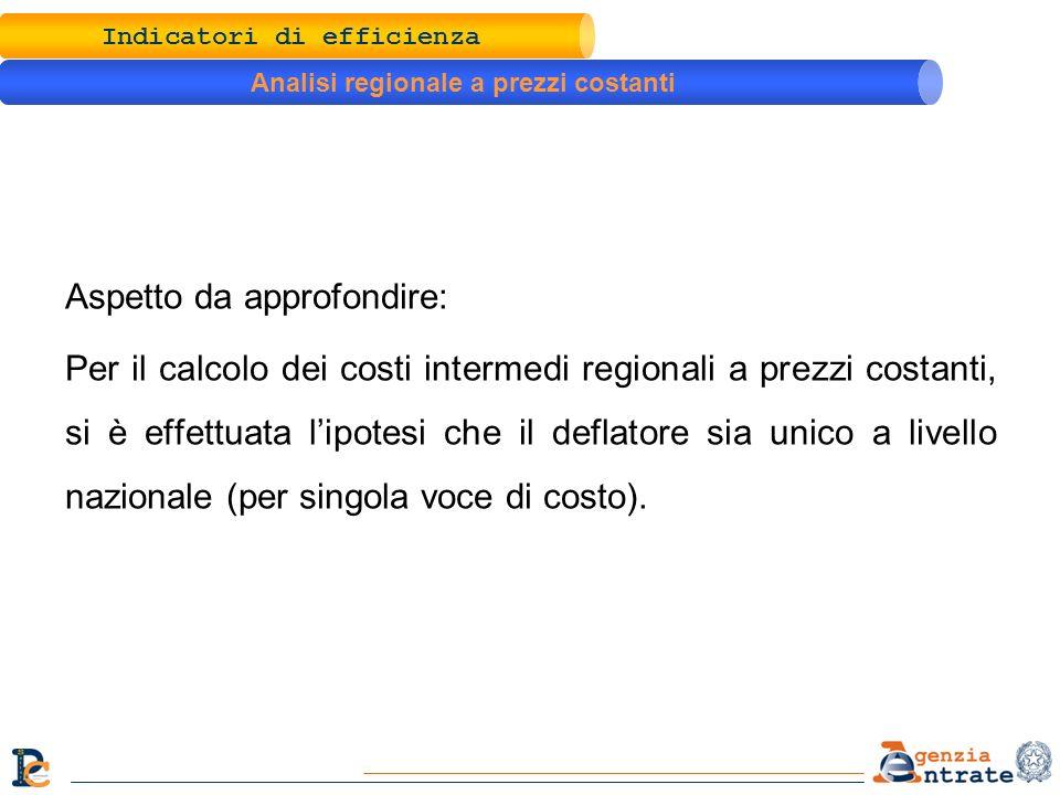 Aspetto da approfondire: Per il calcolo dei costi intermedi regionali a prezzi costanti, si è effettuata lipotesi che il deflatore sia unico a livello nazionale (per singola voce di costo).