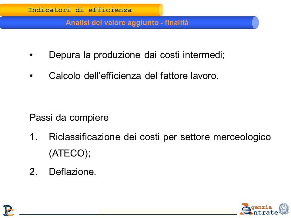 Depura la produzione dai costi intermedi; Calcolo dellefficienza del fattore lavoro. Passi da compiere 1.Riclassificazione dei costi per settore merce