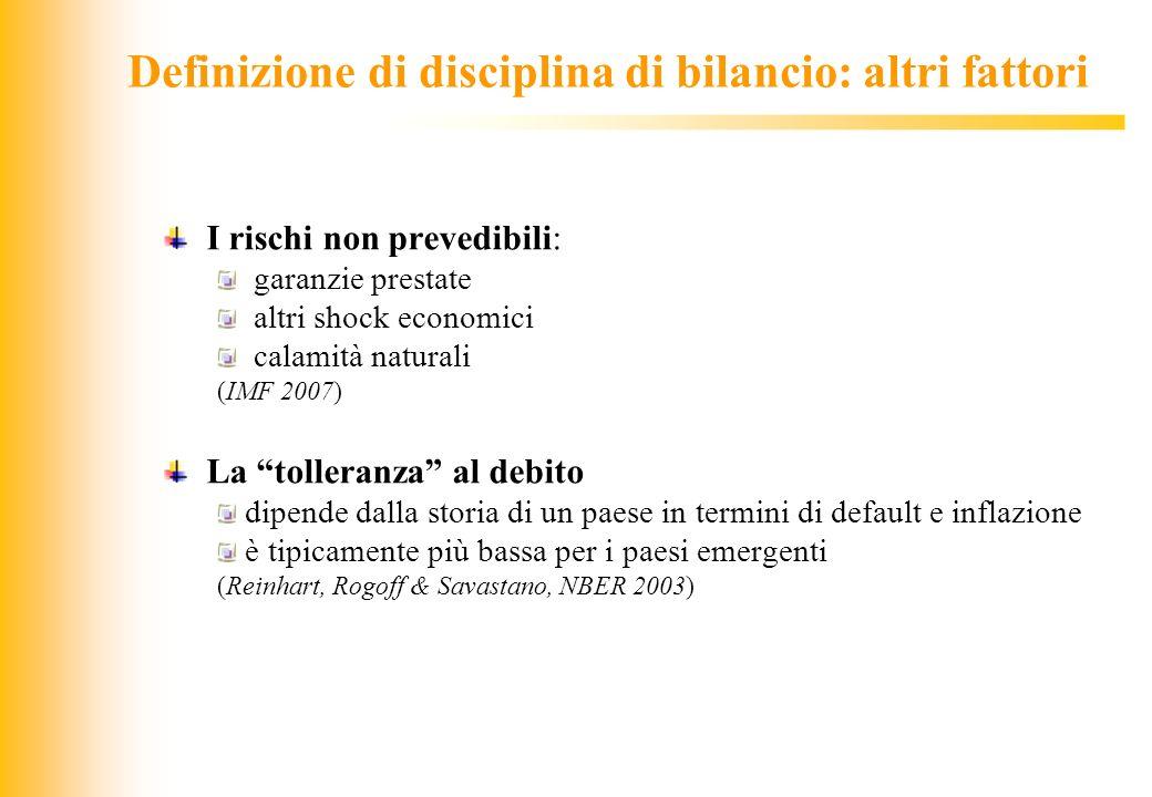JIQ Definizione di disciplina di bilancio: altri fattori I rischi non prevedibili: garanzie prestate altri shock economici calamità naturali (IMF 2007