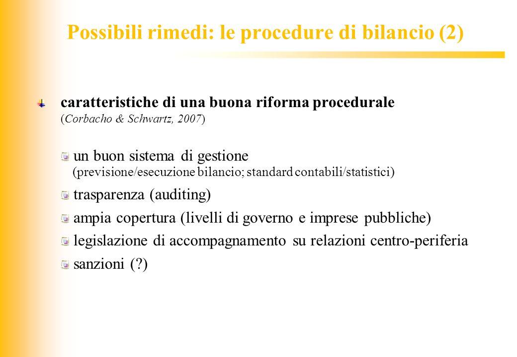 JIQ Possibili rimedi: le procedure di bilancio (2) caratteristiche di una buona riforma procedurale (Corbacho & Schwartz, 2007) un buon sistema di ges