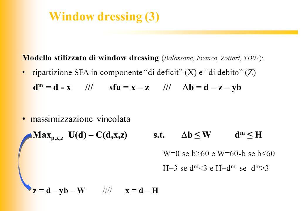 JIQ Modello stilizzato di window dressing (Balassone, Franco, Zotteri, TD07): ripartizione SFA in componente di deficit (X) e di debito (Z) d m = d -