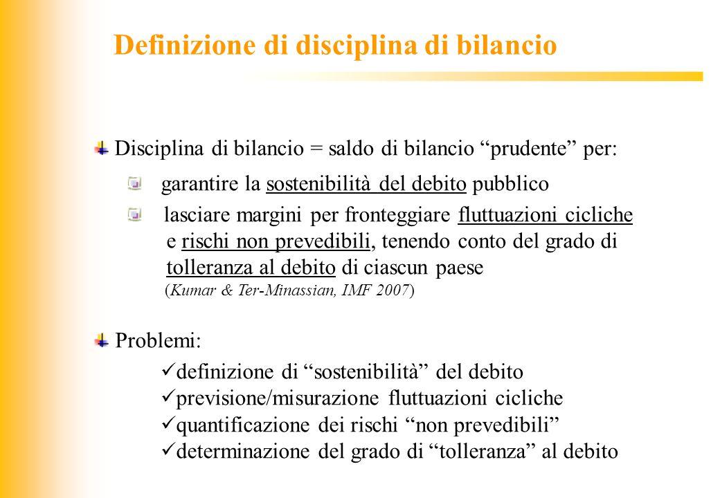 JIQ Definizione di disciplina di bilancio Disciplina di bilancio = saldo di bilancio prudente per: garantire la sostenibilità del debito pubblico lasc