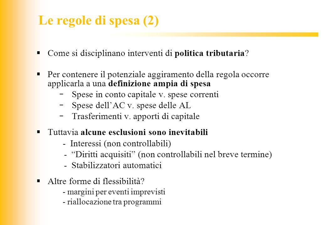 JIQ Le regole di spesa (2) Come si disciplinano interventi di politica tributaria? Per contenere il potenziale aggiramento della regola occorre applic